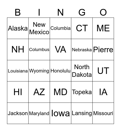 United States Bingo  Bingo Card