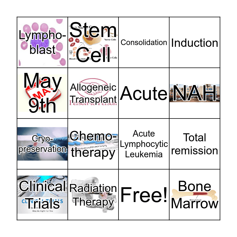 Acute Lymphocytic Leukemia Bingo Card