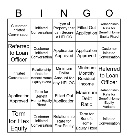 Home Equity Bingo Card