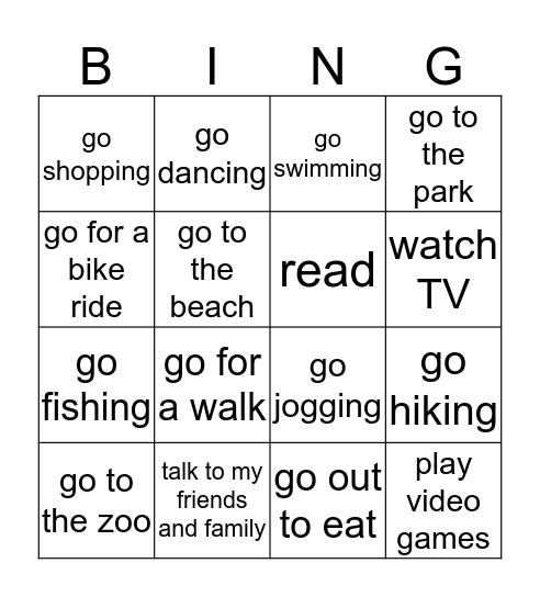Free-time Activities Bingo Card