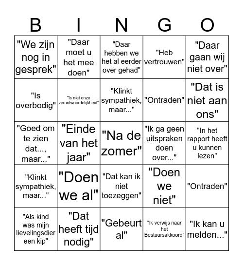 College Bingo #Perspectiefnota Bingo Card