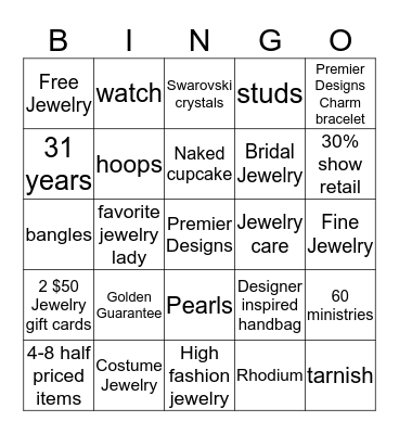 Blingalicious Bingo Card