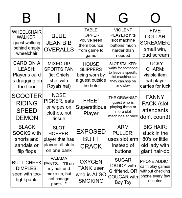 Casino Guests Bingo Card