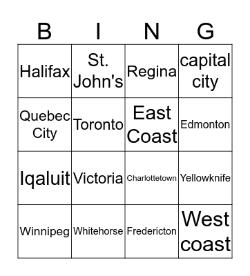 The Capital Cities of Canada Bingo Card