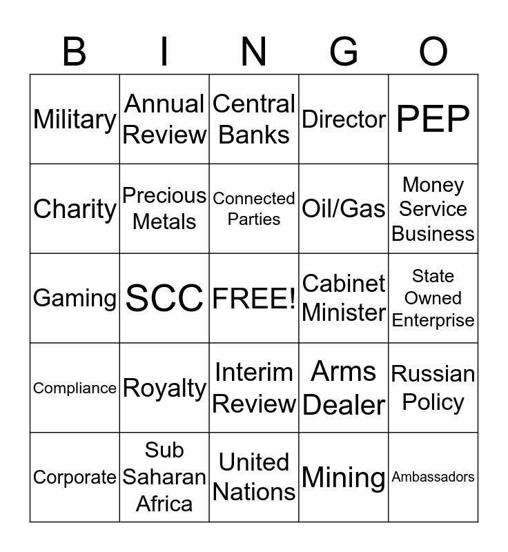 SCC Monitoring Team Day - Bingo Card
