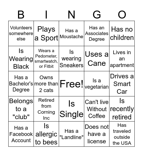 Volunteer Bingo Card