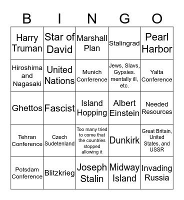 SSWH18 WWII Bingo Card