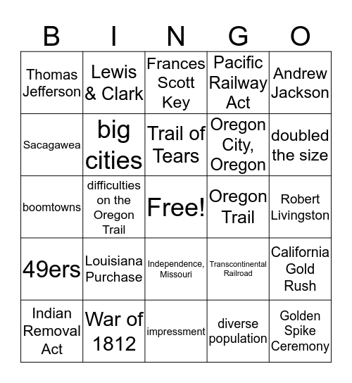 Westward Expansion Bingo Card