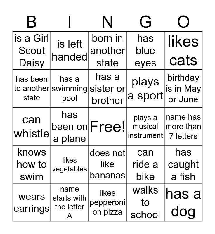 GS Troop 6072  Bingo Card