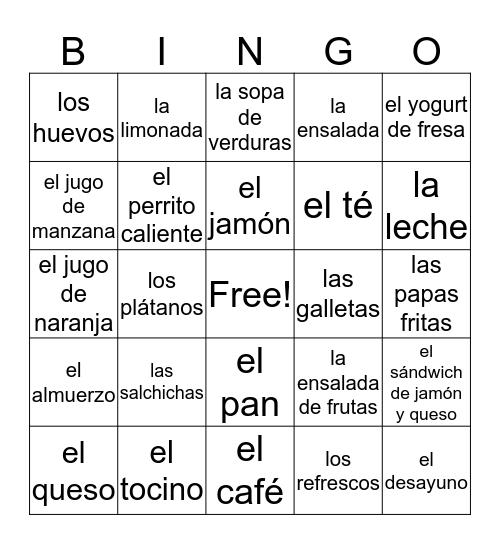 Desayuno o Almuerzo Bingo Card