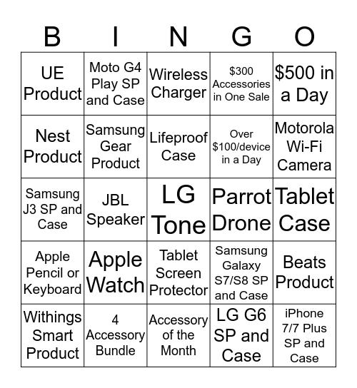 Accessory Bingo Card