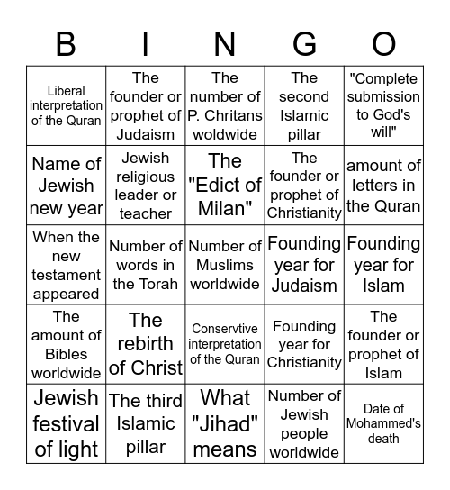 Religion Bingo Card