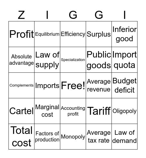 Economics! Bingo Card