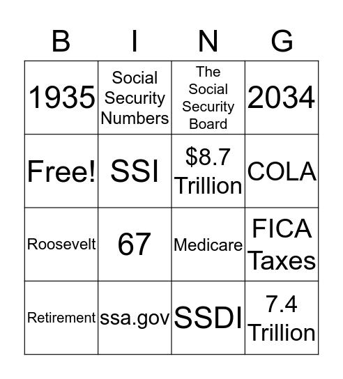SSA  Bingo Card