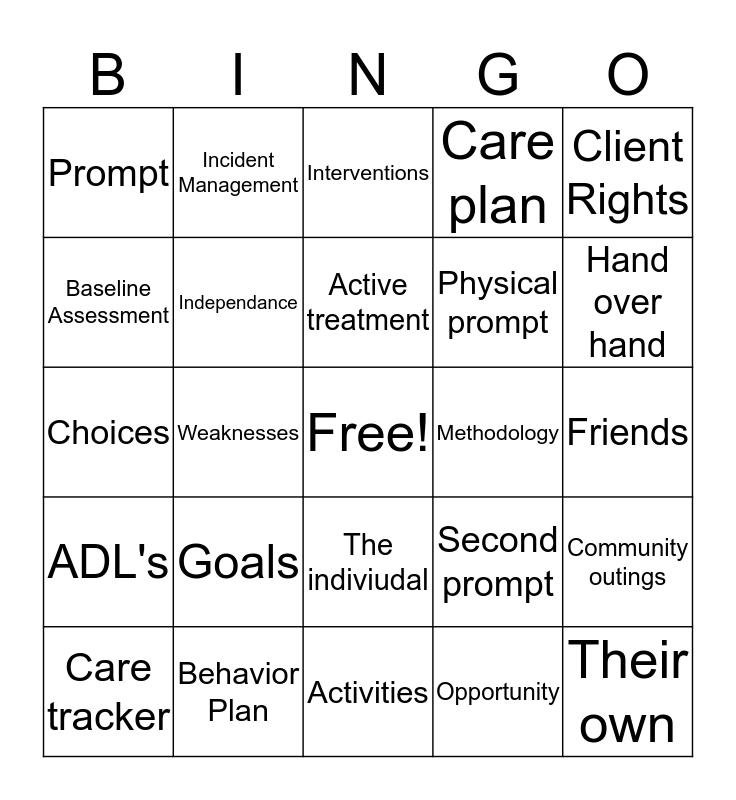 Active Treatment  Bingo Card