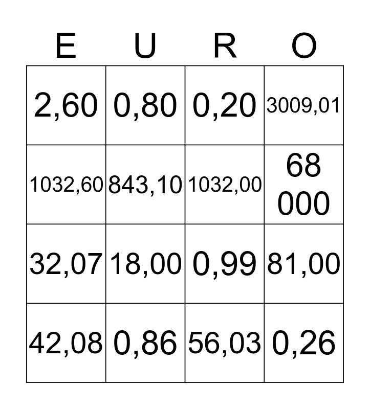 Eurobingo kaart 30 Bingo Card