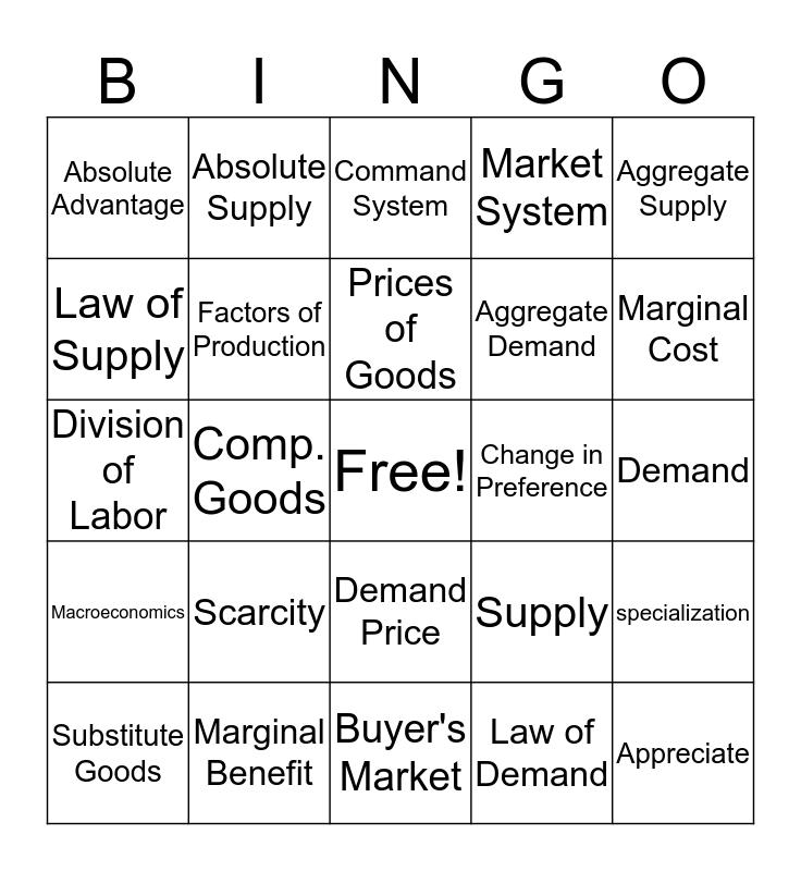 Economo Bingo Card