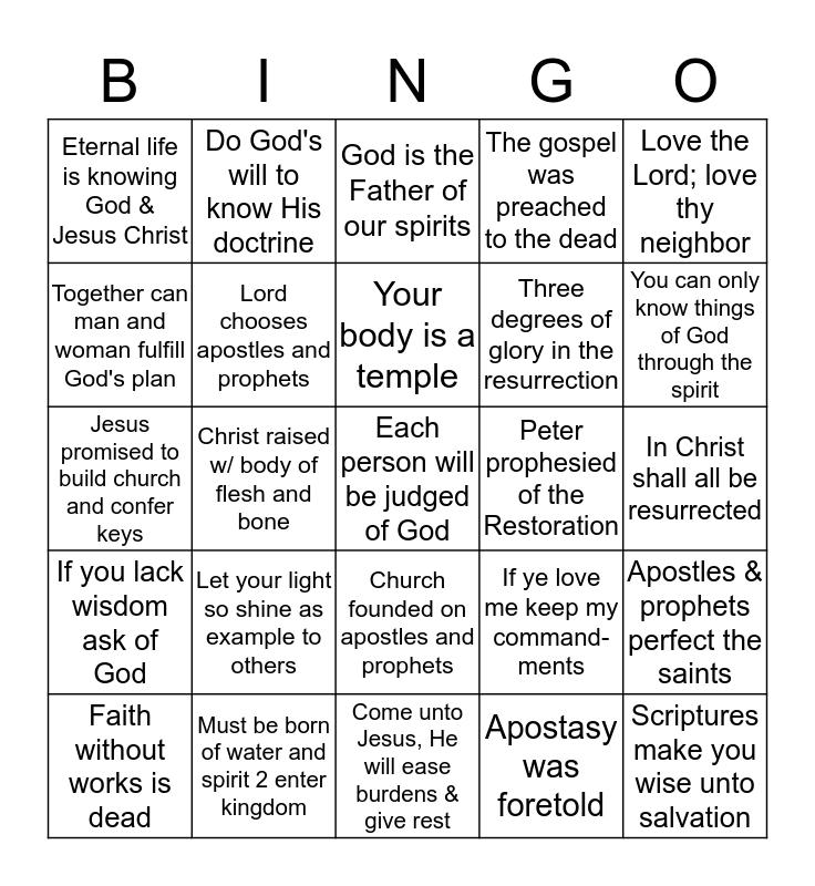 New Testament Doc Mastery Text Given 4/27/17 Bingo Card