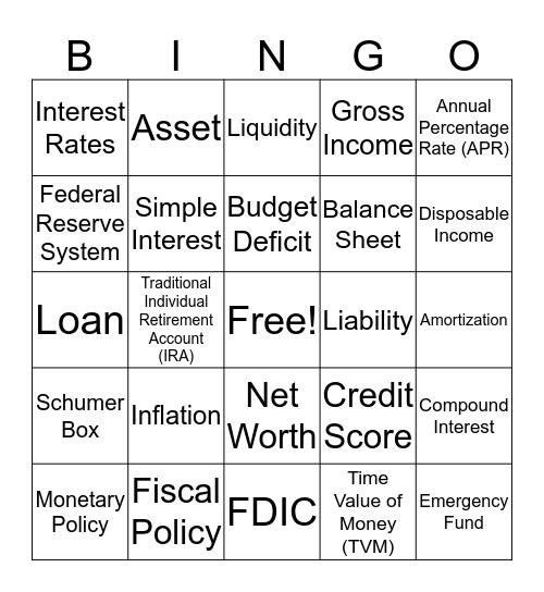 Money Smart Bingo Card