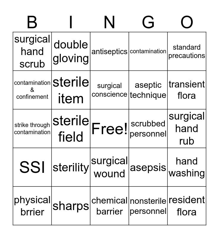 Aseptic Technique Bingo Card