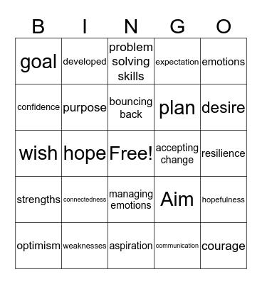Hope & Resilience Bingo Card