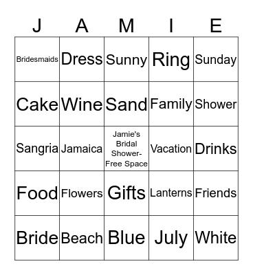 Jamie's Bridal Shower Bingo Card