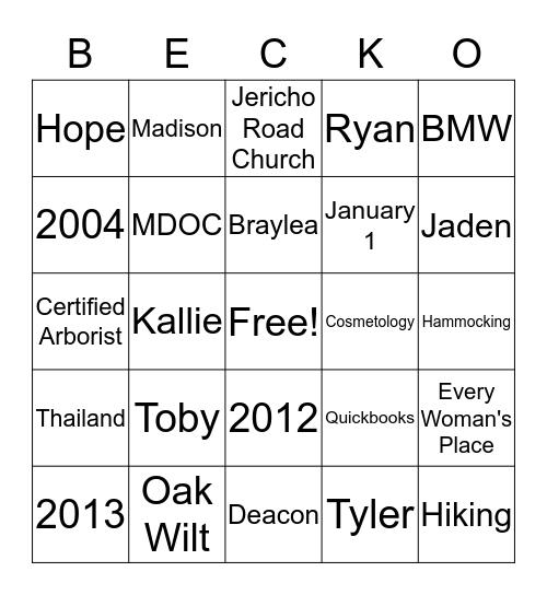 Becko Bingo Card