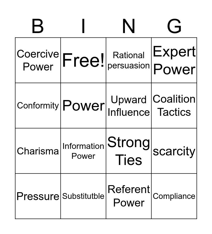 Power & Politics Bingo Card