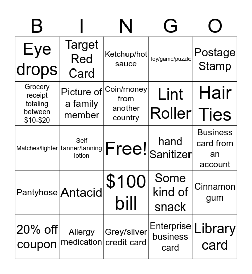 Purse Bingo Card