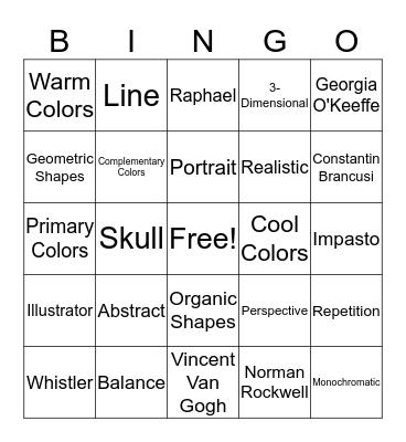 Art Lit Bingo Card