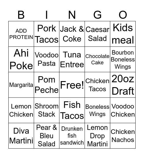BAR LOUIE Bingo Card