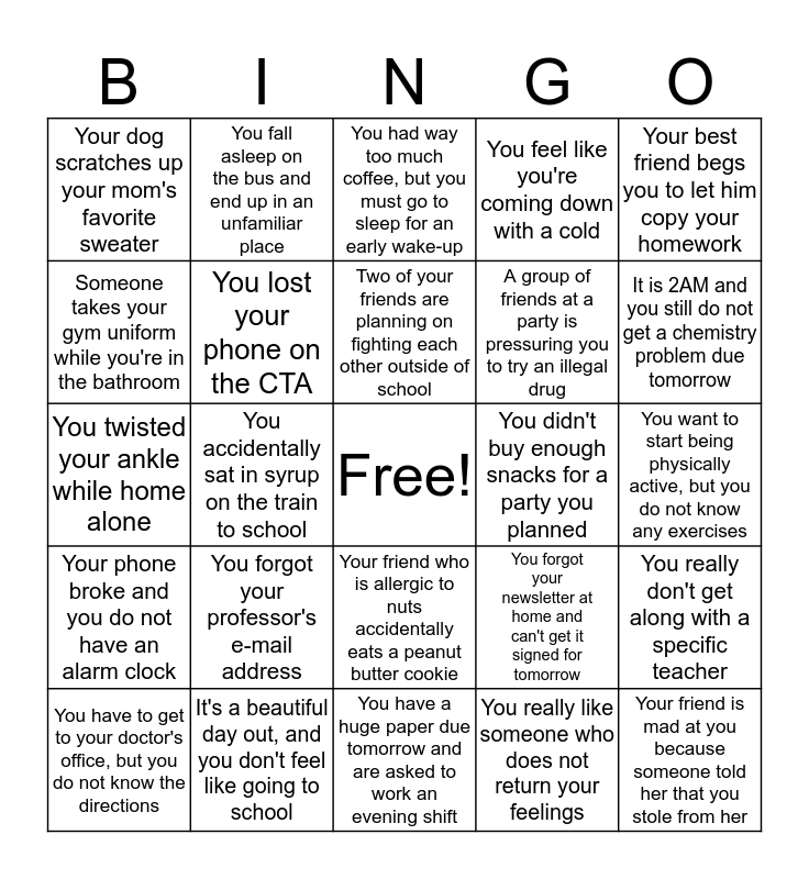 Problem Bingo (Pringo!) Bingo Card