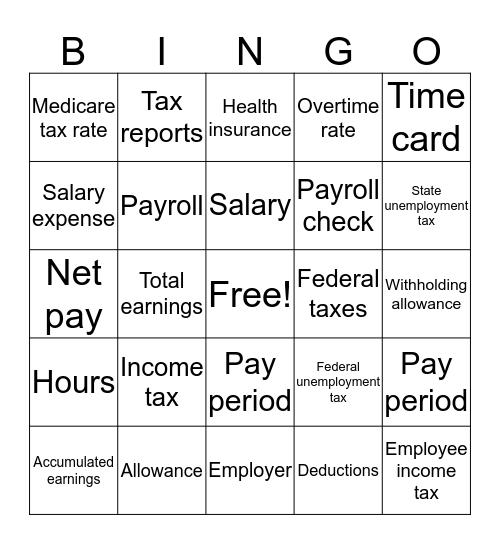 Accounting Payroll Bingo Card