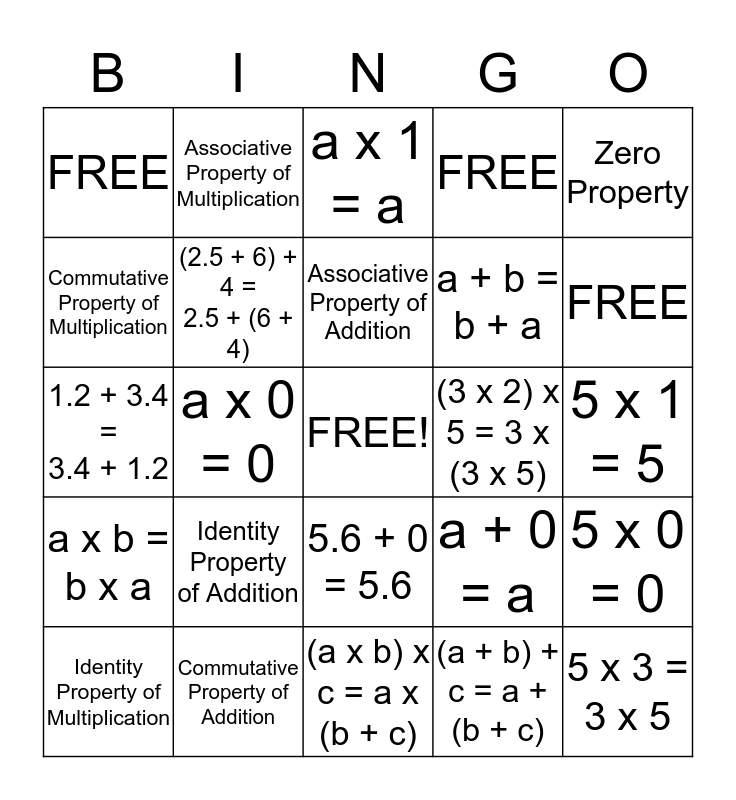 Property BINGO Card