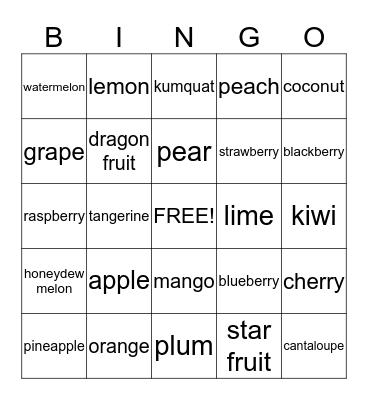Fruits! Bingo Card