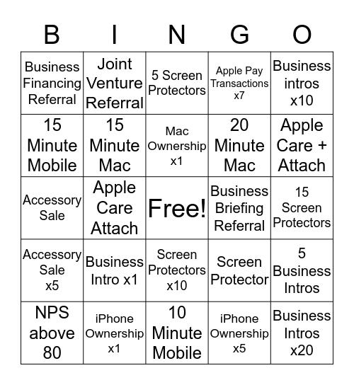 Apple BINGO!  Bingo Card