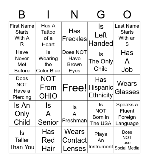 Find Someone Who(se)... Bingo Card