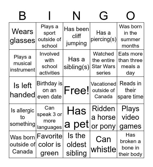 Someone who... Bingo Card