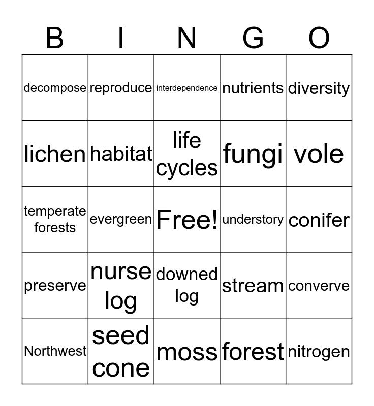 Forest BINGO Card