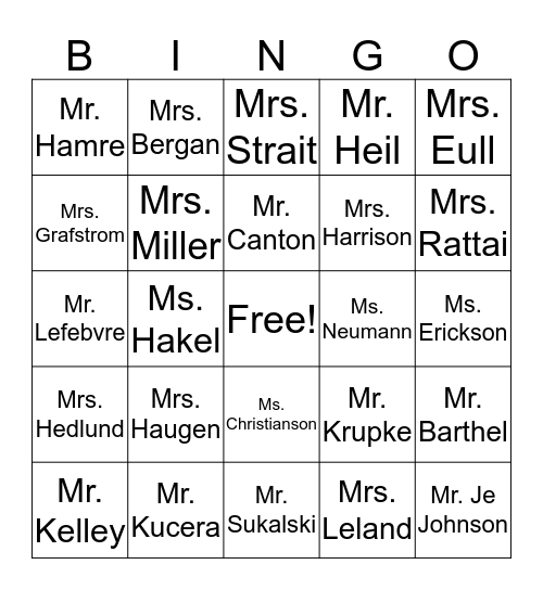 MSW Certified Staff Bingo Card