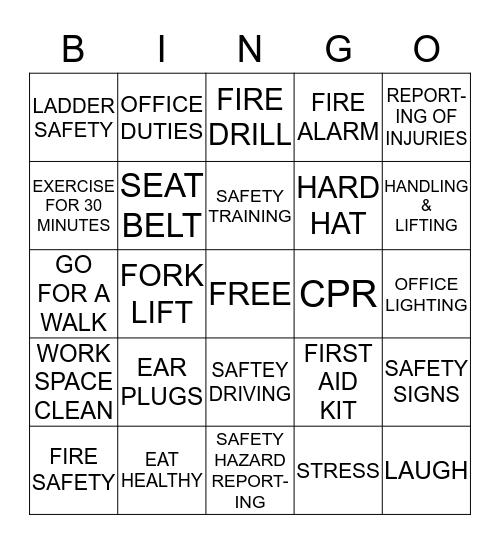 SAFETY AND HEALTH  Bingo Card