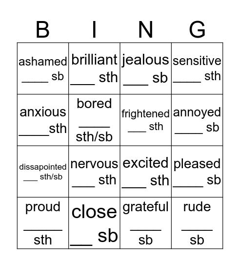 PREPOSITIONS  Bingo Card
