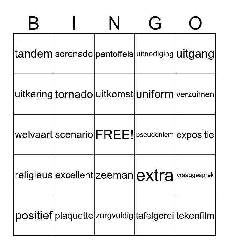 woordenschatbingo Card