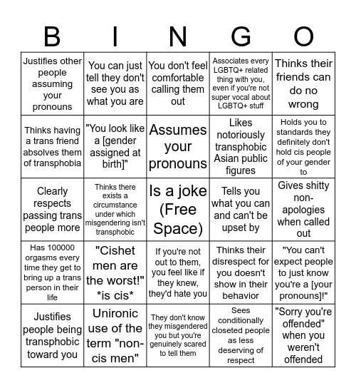 Cisgender Asian Bingo Card