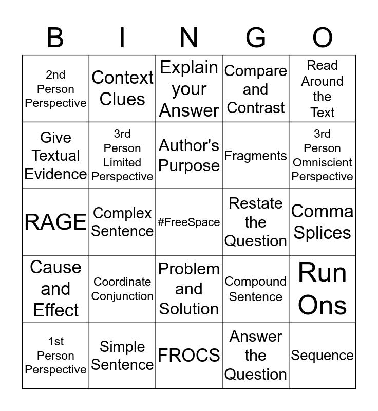 Review Game Example Bingo! Bingo Card