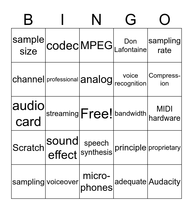 Chapter 8 Audio  Bingo Card