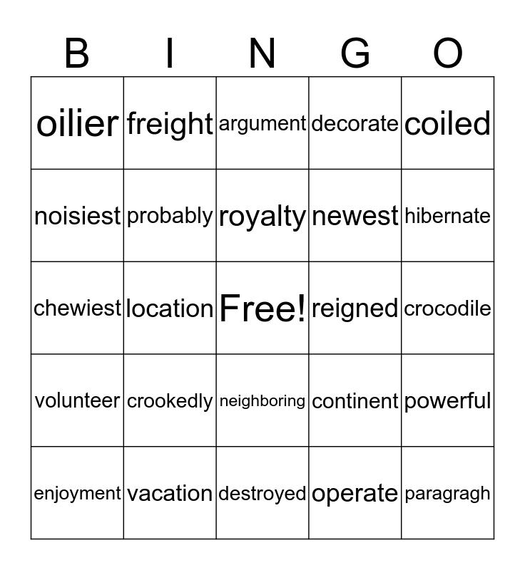 B I N G O  1R Practice #3 Bingo Card