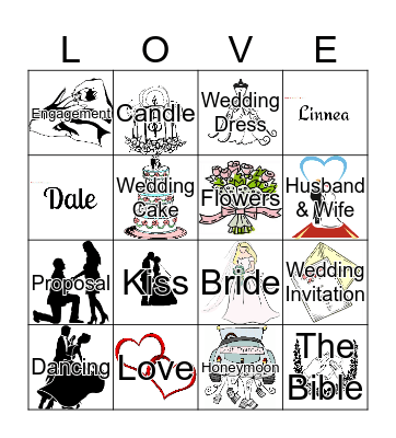 Linnea and Dale are Getting Married! Bingo Card