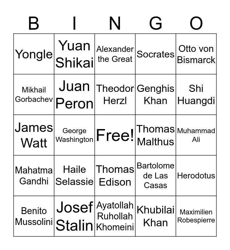 AP World History Bingo Card