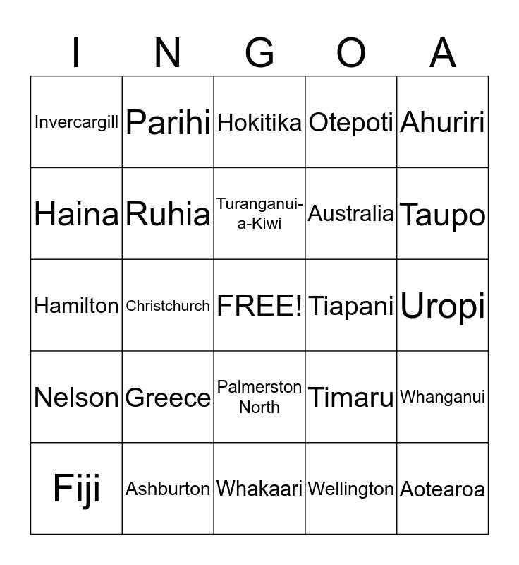Nga wahi Bingo Card